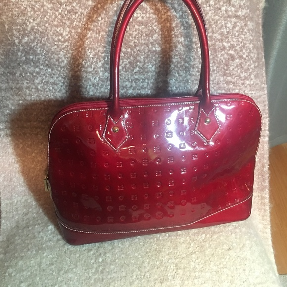 Arcadia Handbags - ARCADIA Ruby Red Patent Leather Top Handle Purse
